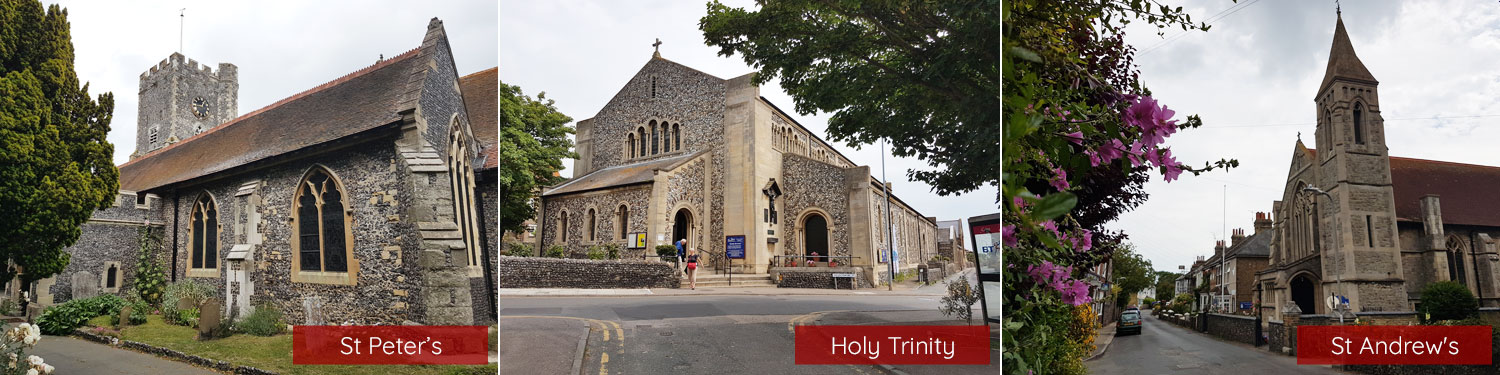 Images of St Peter's, Holy Trinity and St Andrew's churches, Broadstairs